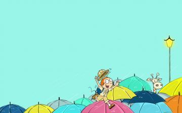 阴雨天的可爱卡通