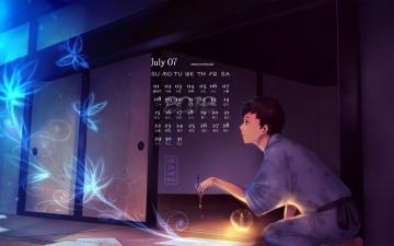 2012年7月卡通月历,农历,月历壁纸-好运图库