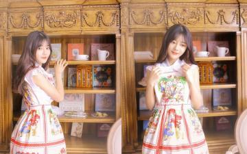 暖色调少女制服居家迷人写真,高清壁纸图片,可爱美女-好运图库