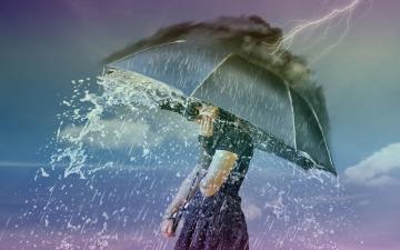 雨天,遇见最美的自己,高清壁纸图片,欧美美女-好运图库
