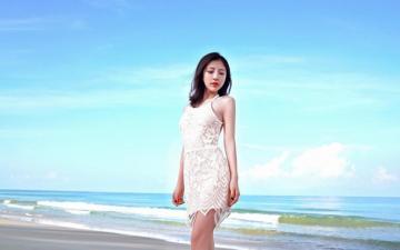 蕾丝裙少妇沙滩裸背写真,高清壁纸图片,大陆美女-好运图库