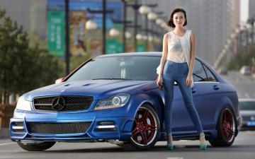 奔驰C级改装车美女写真,高清壁纸图片,大陆美女-好运图库
