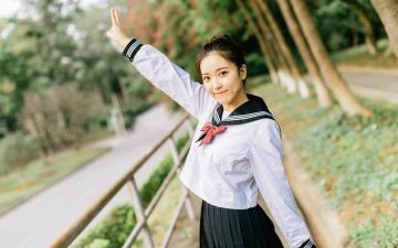 JK制服甜美少女可爱养眼写真,高清壁纸图片,大陆美女-好运图库
