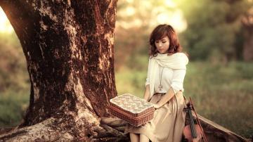 拉小提琴的女孩,高清壁纸图片,清纯美女-好运图库