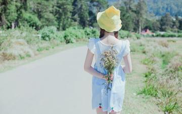 清新森系美女户外写真,高清壁纸图片,清纯美女-好运图库