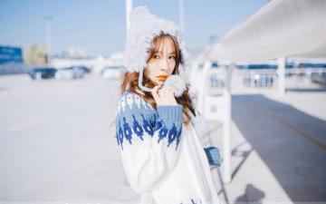 甜美长发美女冬日街拍写真,高清壁纸图片,大陆美女-好运图库