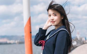 水手服美少女养眼写真,高清壁纸图片,大陆美女-好运图库