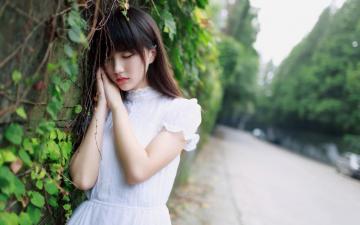 白裙子少女街拍写真,高清壁纸图片,大陆美女-好运图库