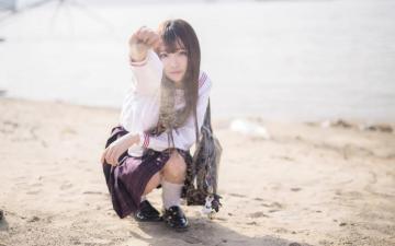 甜美长发学生妹制服写真,高清壁纸图片,大陆美女-好运图库