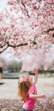 桃花树下的小女孩手机壁纸-好运图库