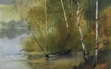 水彩自然景色-艺术壁纸-好运图库
