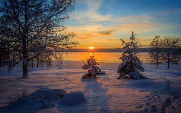 瑞典的冬天日落美景,高清壁纸,风景图片-好运图库