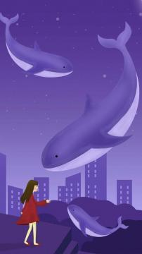 治愈系鲸鱼女孩插画高清手机壁纸-好运图库