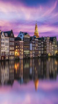 阿姆斯特丹夜色的魅力,锁屏图片,高清手机壁纸,风景-好运图库