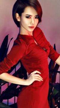 戚薇红色旗袍写真高清手机壁纸-好运图库
