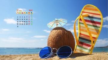2017年7月海岸风景日历,农历,月历壁纸-好运图库