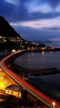 海岸镇夜晚风景高清手机壁纸-好运图库