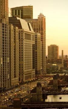 芝加哥建筑日出,锁屏图片,高清手机壁纸,风景-好运图库
