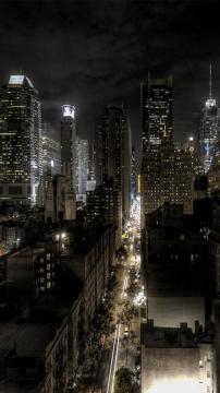 纽约夜天际线,锁屏图片,高清手机壁纸,风景-好运图库