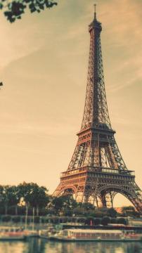 艾菲尔铁塔巴黎日出倾斜转移,锁屏图片,高清手机壁纸,风景-好运图库