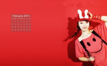 2015年2月美女日历,农历,月历壁纸-好运图库