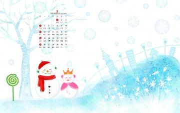 2015年1月唯美雪景日历,农历,月历壁纸-好运图库