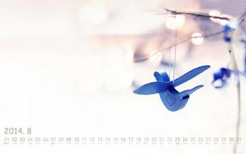2014年8月淡雅风格日历,农历,月历壁纸-好运图库