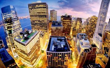 美国纽约曼哈顿夜景,高清壁纸图片,城市夜景-好运图库