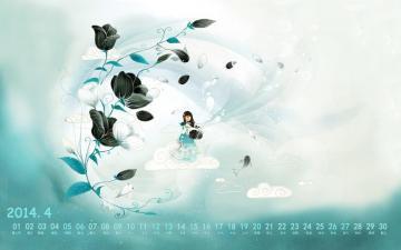 2014年4月唯美花朵日历,农历,月历壁纸-好运图库