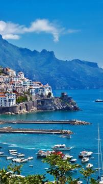 希腊岛城港口高清手机壁纸-好运图库