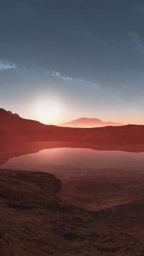 死湖的红色日落,锁屏图片,高清手机壁纸,风景-好运图库