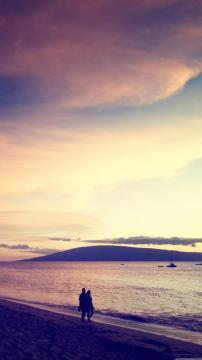 走在海滩看日落,锁屏图片,高清手机壁纸,风景-好运图库