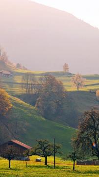 阳光明媚的乡村山,锁屏图片,高清手机壁纸,风景-好运图库