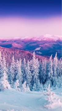 冬季紫色山景,锁屏图片,高清手机壁纸,风景-好运图库