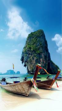 甲米岛泰国海滩,锁屏图片,高清手机壁纸,风景-好运图库