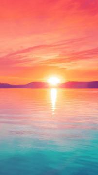 炫彩日落山湖,锁屏图片,高清手机壁纸,风景-好运图库