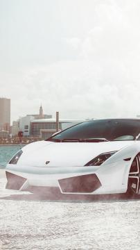 兰博基尼白色跑车,锁屏图片,高清手机壁纸,汽车-好运图库