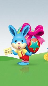卡通复活节兔子-锁屏图片-高清手机壁纸-好运图库
