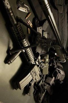 高清m4和狙击枪特写,锁屏图片,高清手机壁纸,军事-好运图库