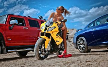 沙滩上的车辆与美女-好运图库