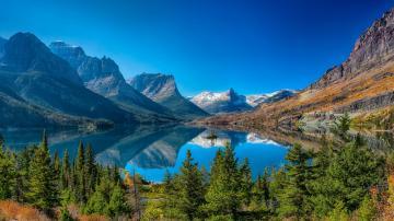 蓝天青山河流美景摄影
