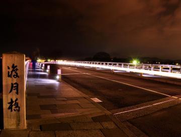夜晚的渡月桥自然景观