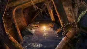 手绘复古沉船空间